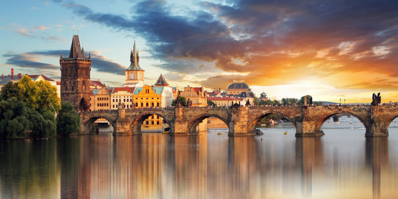 View over river and old bridge in Prague
