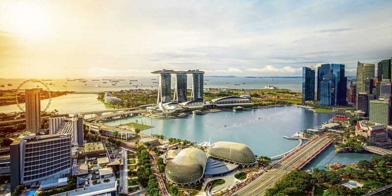 View over Singapore with water, bridge and skyscrapes